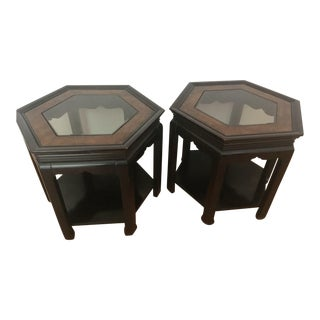 20th Century Chinoiserie Gordon's Furniture Hexagonal Accent End Tables - a Pair For Sale