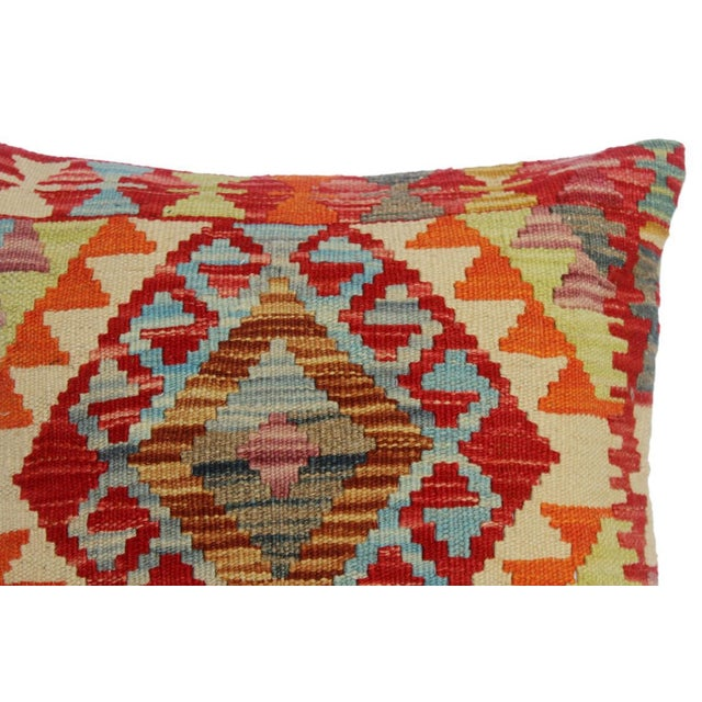 """Cherly Red/Ivory Hand-Woven Kilim Throw Pillow(18""""x18"""") For Sale - Image 4 of 6"""