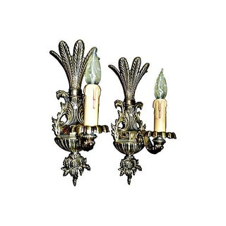 Egyptian Palm Motif Brass Sconces - A Pair For Sale