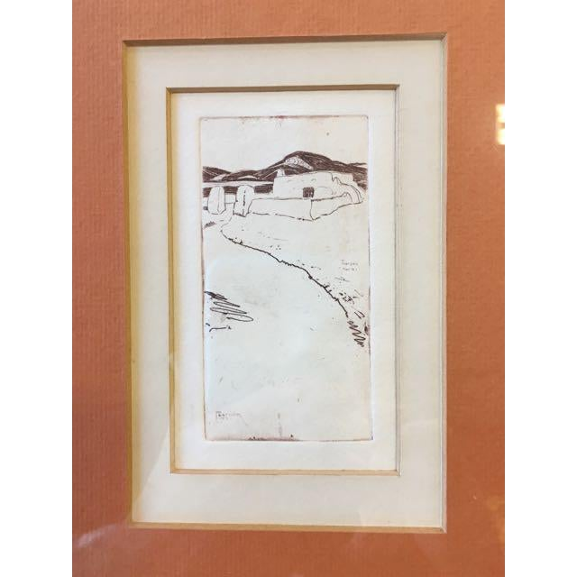 "Orange ""Taos Nm"" Drypoint Etching Print by Ralph Pearson For Sale - Image 8 of 8"