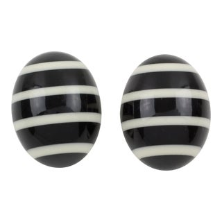 Gerda Lyngaard for Monies Clip on Earrings Black and White Striped Resin For Sale