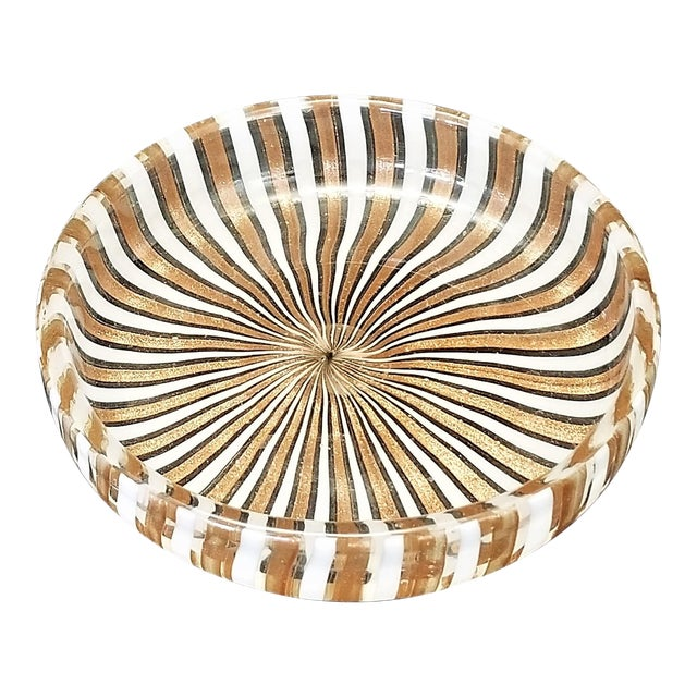 1950s Vintage Murano Copper and White Glass Bowl by Fratelli Toso For Sale