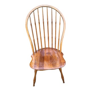1980s Vintage Bent & Bros. Gardner, Mass, Red Oak Windsor Bentwood Side Chair For Sale
