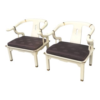 1970s Vintage James Mont for Century Furniture Horseshoe Ming Style Chairs- A Pair For Sale