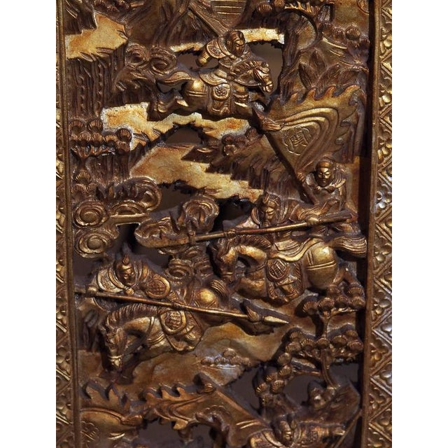 1910s Antique Chinese Four-Panel Screen For Sale - Image 5 of 10