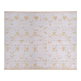 Scandinavian Style Pile Rug Swedish White and Gold-Brown Pattern by Rug & Kilim For Sale