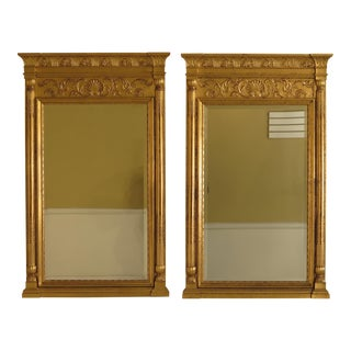 Neoclassical Gold Gilt Beveled Mirrors - A Pair
