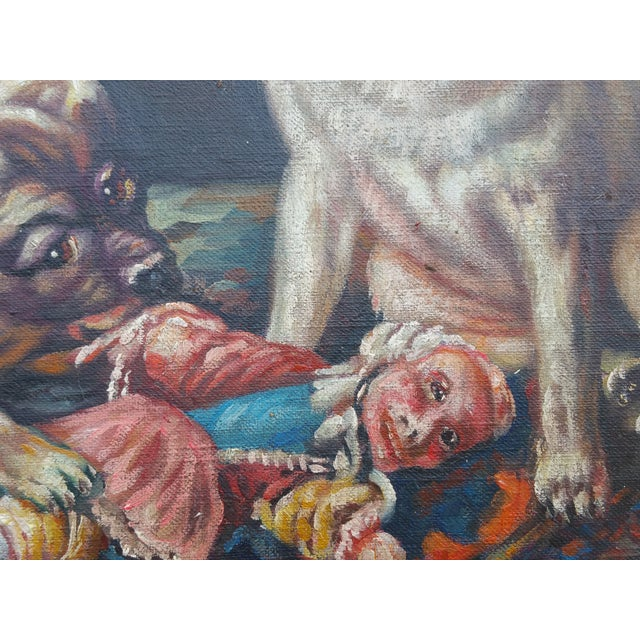 Vintage Pugs & Punch Oil Painting For Sale - Image 4 of 6