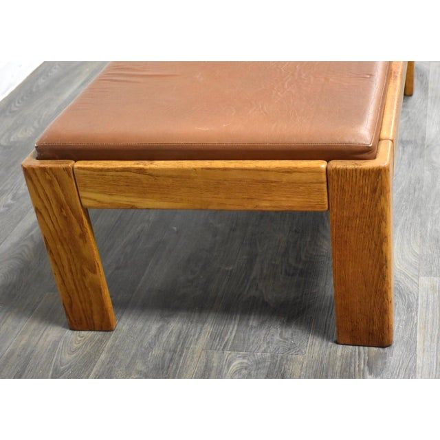 Superb Modern Oak And Brown Leather Bench By Knoll Machost Co Dining Chair Design Ideas Machostcouk