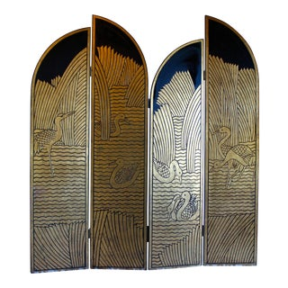 Vintage Donald Deskey Style Art Deco Lacquer and Gilt Chinoiserie Folding Screen Room Divider Heron Reed Motif For Sale