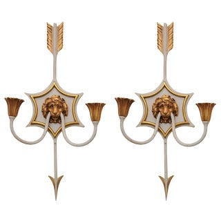 Pair of Directoire Lion Mask Sconces of Bronze For Sale