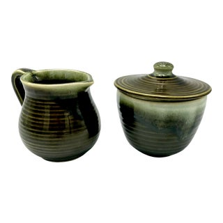 Hull Green Drip Sugar Bowl & Creamer Pitcher - A Pair For Sale