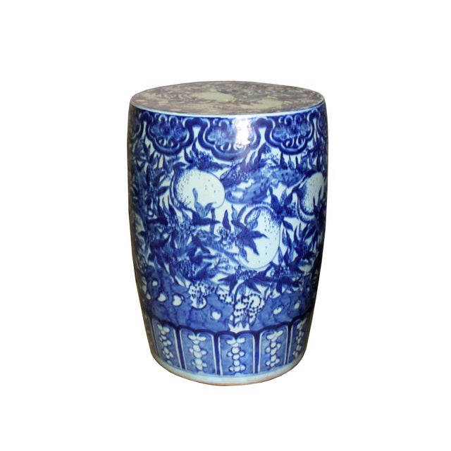 Ceramic Chinese Round Peach Flower Blue White Porcelain Stool Table For Sale - Image 7 of 7