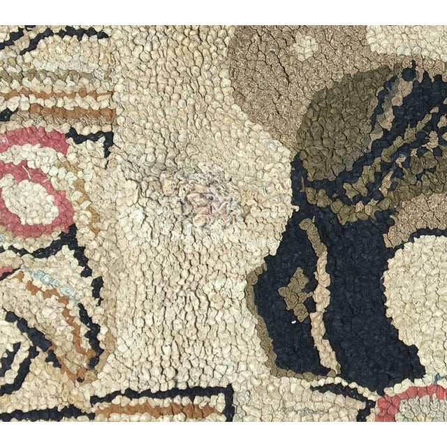 19th Century Pug Hooked Rug For Sale - Image 4 of 5