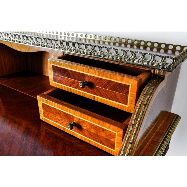 French Antique French Louis XV Style Satinwood Writing Desk For Sale - Image 3 of 8