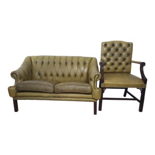 Tufted Green Distressed Leather Sofa & Matching Chair For Sale