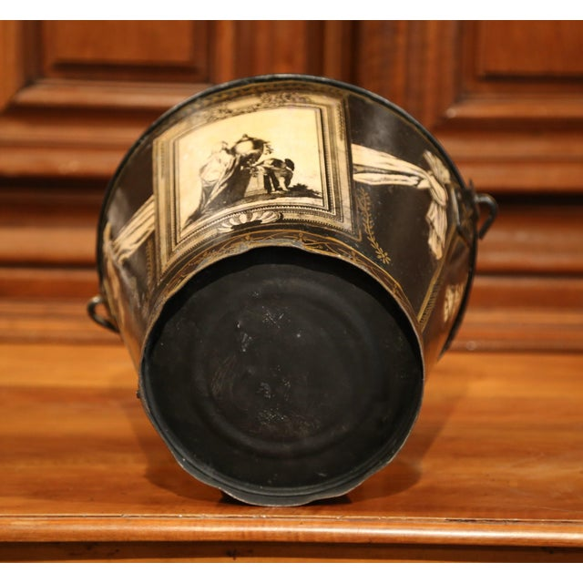 Black 19th Century French Directoire Hand-Painted Black and White Tole Basket Planter For Sale - Image 8 of 9