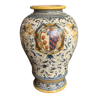 Large Italian Faience Coat of Arms Ceramic Vase For Sale