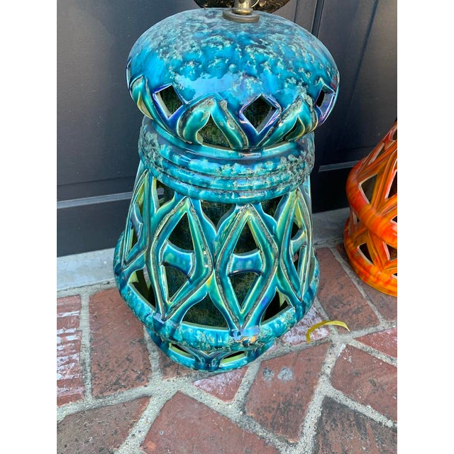 Asian Vintage Teal and Orange Mid-Century Tiki Style Ceramic Pendants - a Pair For Sale - Image 3 of 9