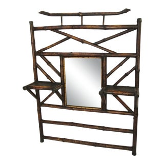 19th Century Bamboo Hanging Mirror Shelf For Sale