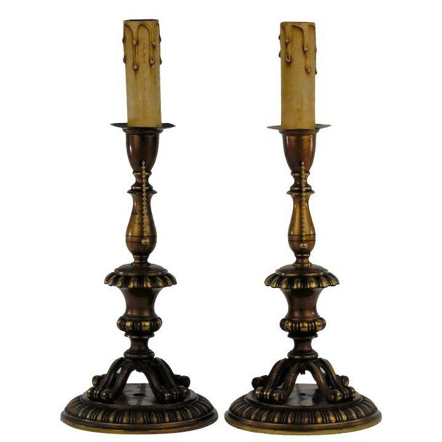 Metal Footed Brass Candlestick Table Lamps For Sale - Image 7 of 7