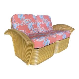 """Restored """"Golden Girls"""" Art Deco Rattan Fan Arm Loveseat For Sale"""