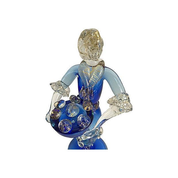 Art Nouveau Murano Barovier Blue and Gold Figurines - a Pair For Sale - Image 3 of 8