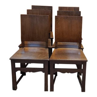 Set of Six English Oak Library / Dining Chairs C.1920s For Sale