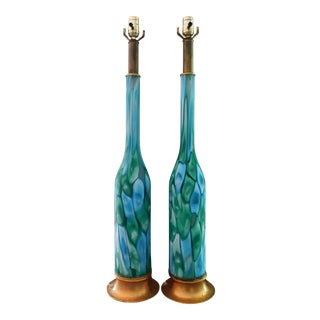Ermanno Toso for Fratelli Toso Murano Murrine Nerox Lamps - a Pair For Sale