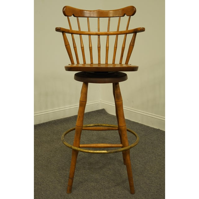 Late 20th Century Late 20th Century S Bent Bros. Gardener Solid Maple Swivel Bar Stool For Sale - Image 5 of 13
