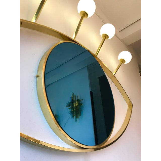 Current Contemporary Brass Wall Lightning Sconces Mirror Blue Eyes, Italy For Sale - Image 4 of 10