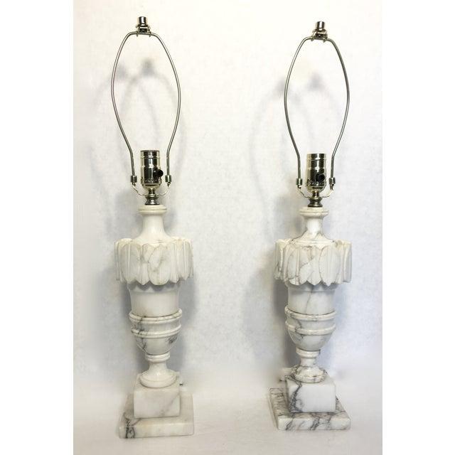 Vintage Alabaster Carved Urn Lamps - A Pair - Image 2 of 6