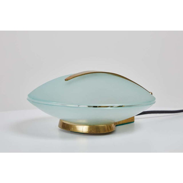 Max Ingrand Glass and Brass Shell Table Lamps for Fontana Arte, Circa 1960 For Sale - Image 11 of 13