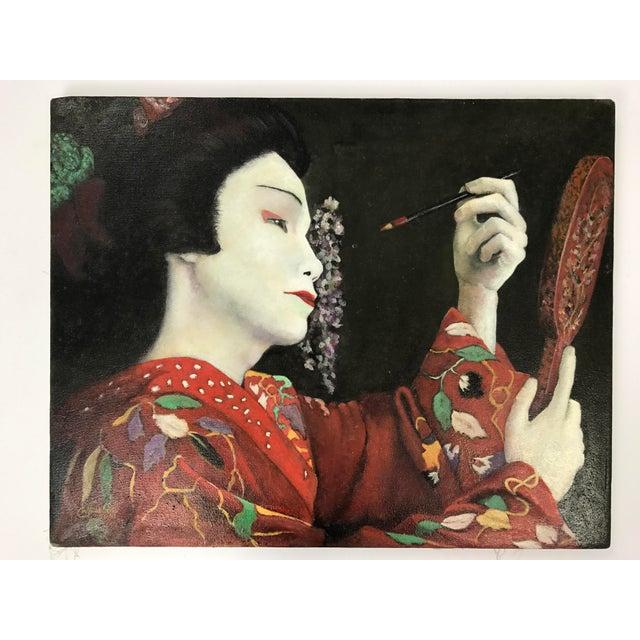 Geisha Applying Make-up Original Oil Painting - Image 4 of 8
