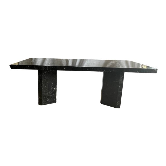 1980s Nero Marquina Black Marble Dining Table For Sale