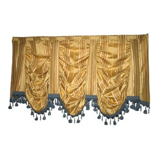 Custom Gold and Blue Waterfall Valance Bead and Tassel Trim Drapes For Sale