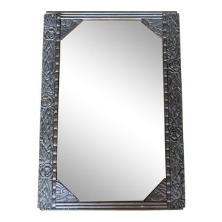 Antique French Art Deco Carved Wood Distressed Silver Wall Mirror C1920's For Sale