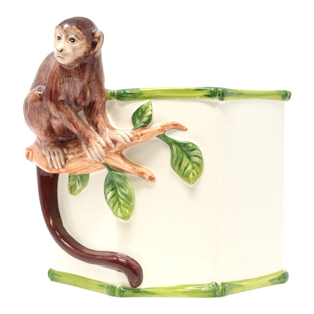 Octagonal Ceramic Planter With Monkey and Bamboo - Made in Italy For Sale