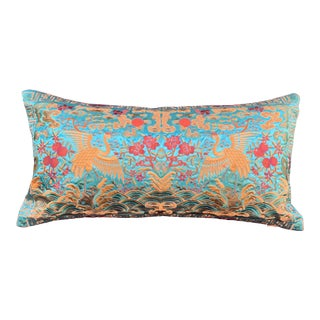 Hollywood Regency Turquoise & Gold Silk Embroidered Cranes Chinoiserie Boudoir Lumbar Pillow For Sale