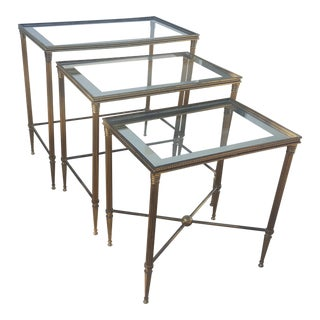 "French "" Bagues "" Style Brass Nesting Tables"