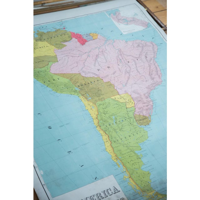 Vintage Pull Down Map of South America For Sale - Image 5 of 9