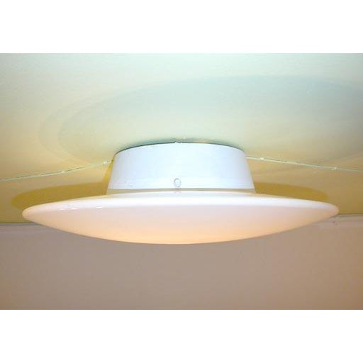 White Glass Disc Wall Sconces - Set of 4 For Sale - Image 4 of 6