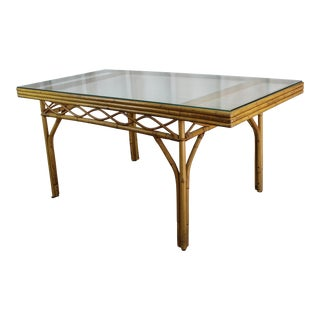 Vintage Rattan Dining Table For Sale