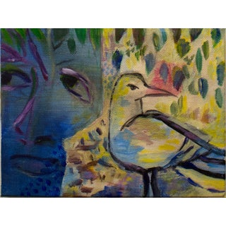 """""""Girl and Bird Bagatelle"""" Contemporary Surrealist Abstract Acrylic Painting For Sale"""