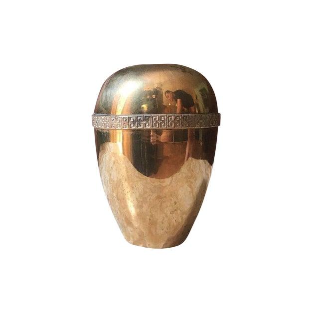 1970s Modernist Brass Greek Key Vase For Sale