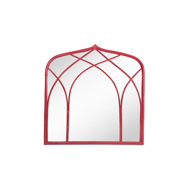 Vanity Table With Large Mirror in Red Lacquered Bamboo For Sale - Image 6 of 13