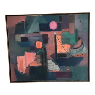 """Large Mid-Century Modern Abstract """"The Harbor"""" Painting"""