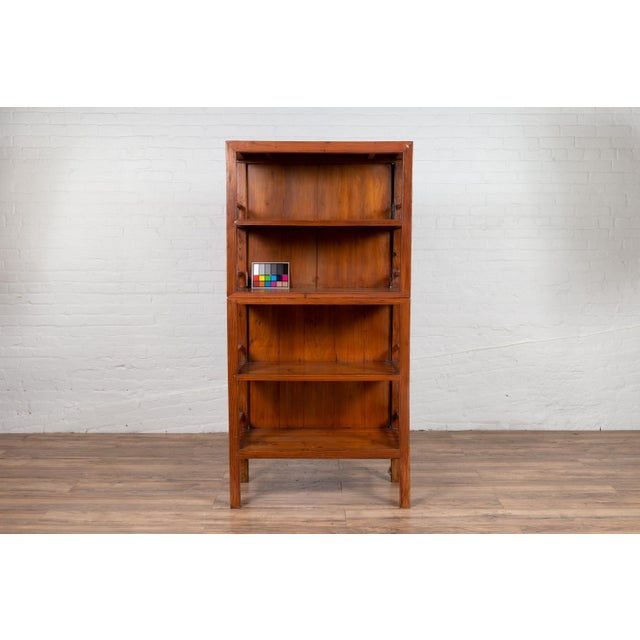 Wood Vintage Chinese Two-Part Elmwood Bookcase With Pillar-Shaped Strut Motifs For Sale - Image 7 of 13