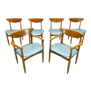 Mid Century Modern Lane Perception Surfboard Back Dining Chairs- Set of 6 For Sale