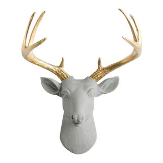 Wall Charmers Gray & Gold Faux Taxidermy Mini Deer Head Mount For Sale